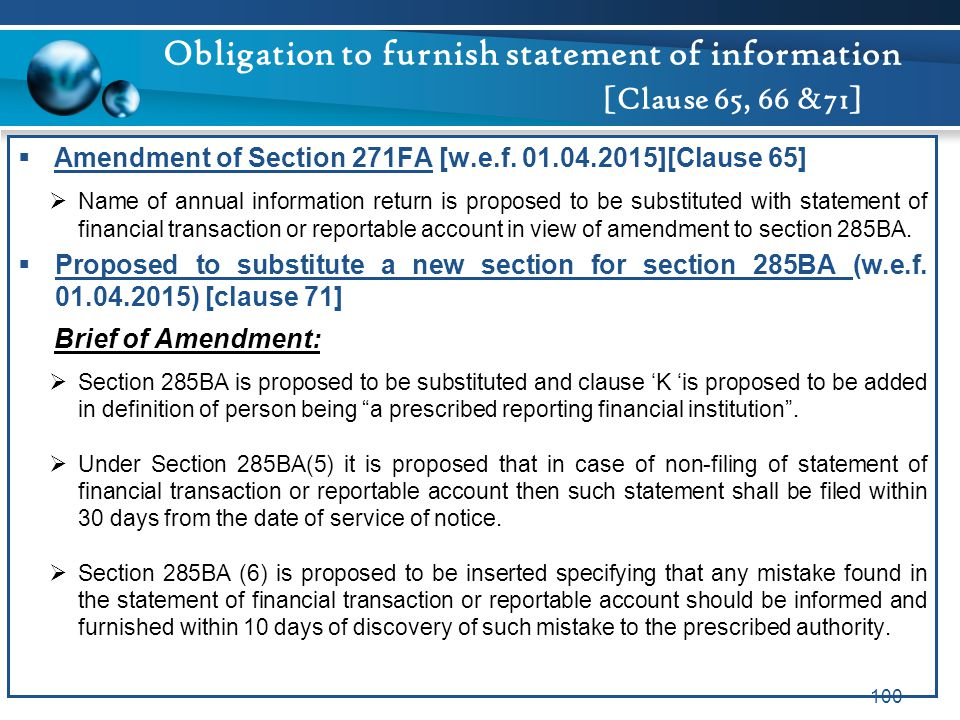 Obligation to furnish statement of information [Clause 65, 66 &71]